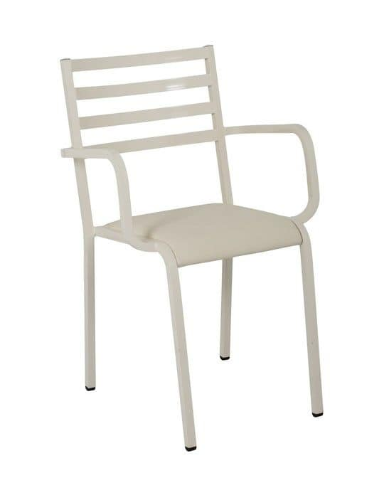 Art.Macrì Indoor armchaire with arms, Metal chair with armrest for indoor use