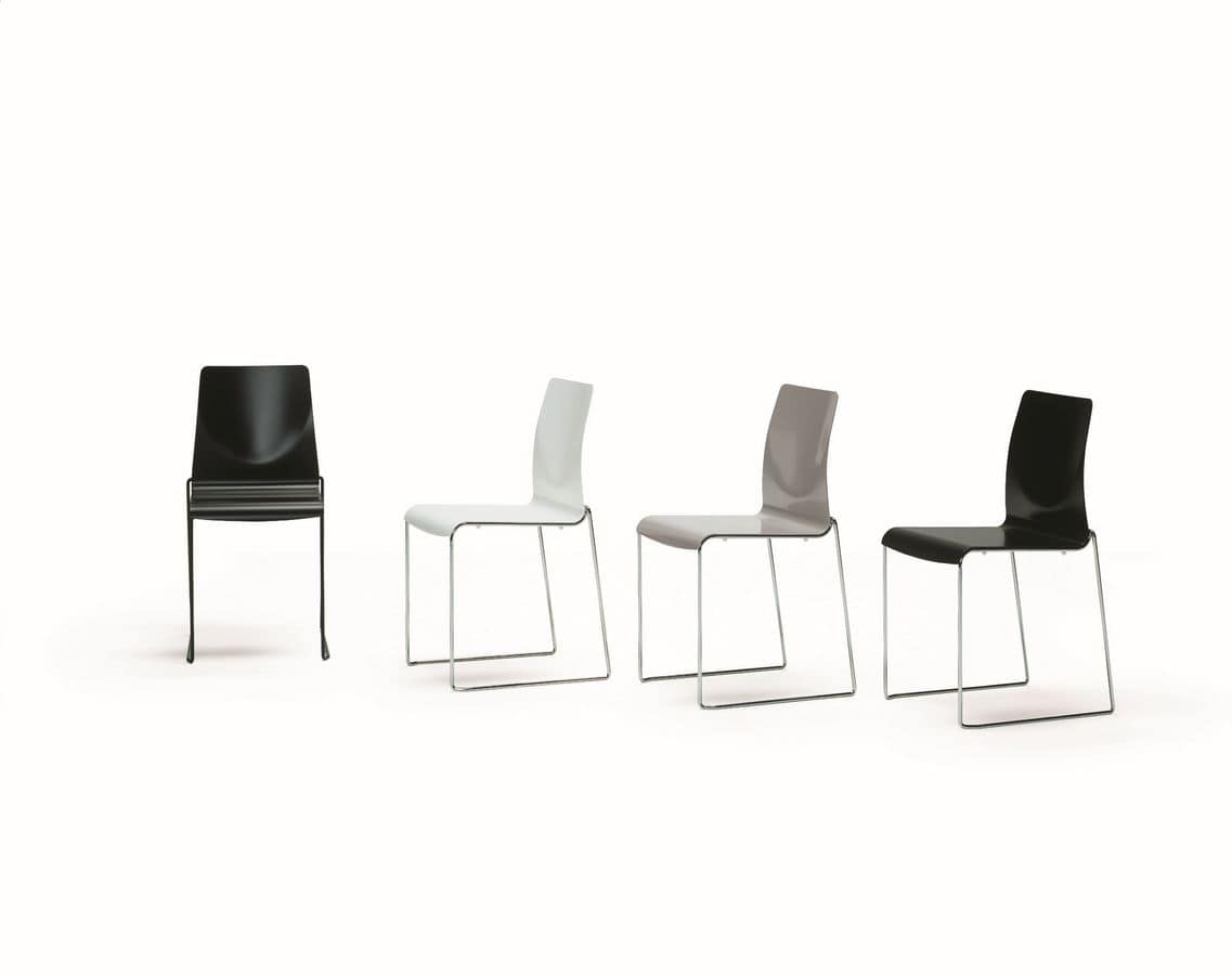 Camilla, Stackable chair, with metal frame, seat made of light alloy