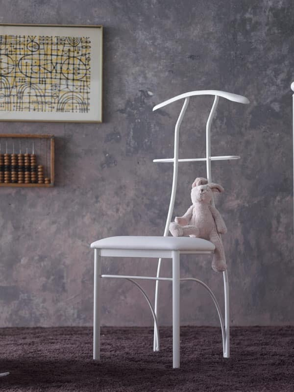 Galileo, Hanger chair, painted iron, sitting in faux leather