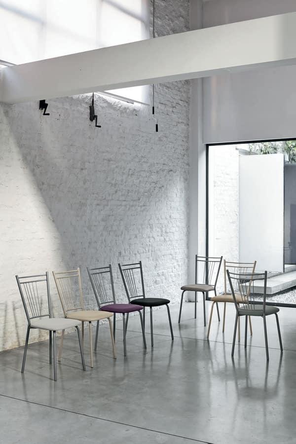GARDA SE104, Metal chair with padded seat