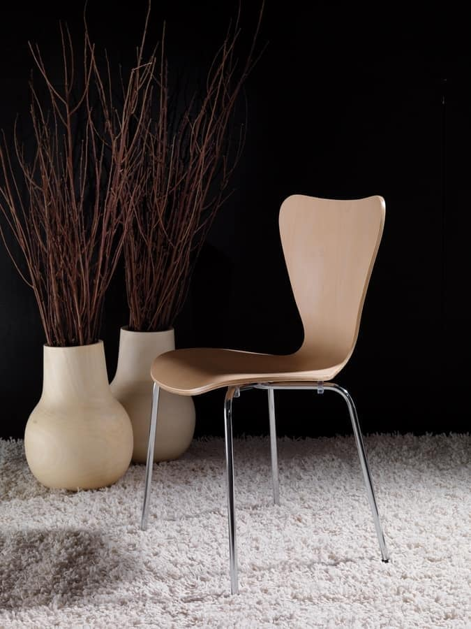 Art. 054 Triannon, Metal chair, seat in natural or lacquered wood