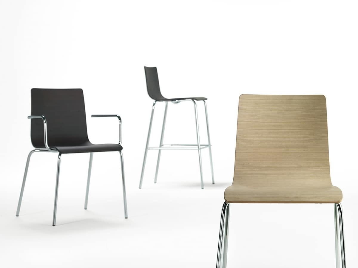 Tesa wood, Metal chair with wooden shell, various finishes