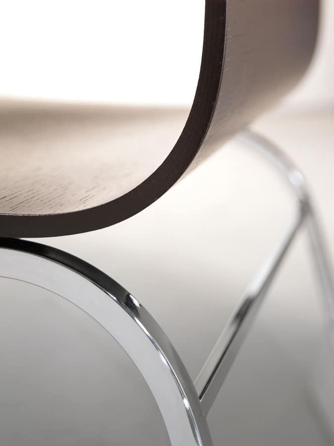 LIRA, Chair made of wood and chromed metal, for bars
