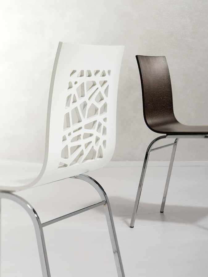 SANTAFE', Chair made of painted wood and metal, for restaurants