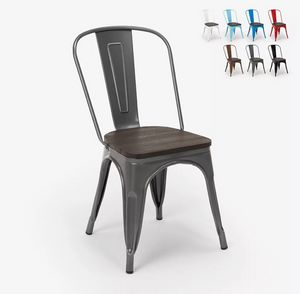 Tolix industrial steel wood chairs for kitchen and bar Steel Wood SM9008WO, Industrial style chair