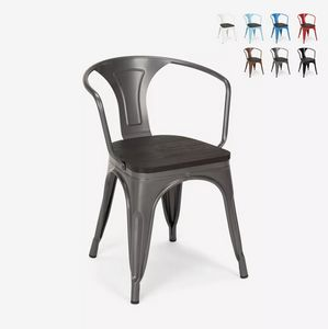 Tolix style industrial wood metal design chairs bar kitchens Steel Wood Arm SM9006WO, Metal chair, with wooden seat