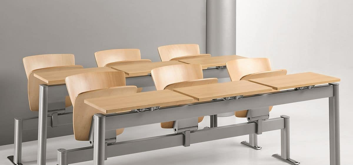 VEKTA A111, Chair on beam in metal and beech plywood