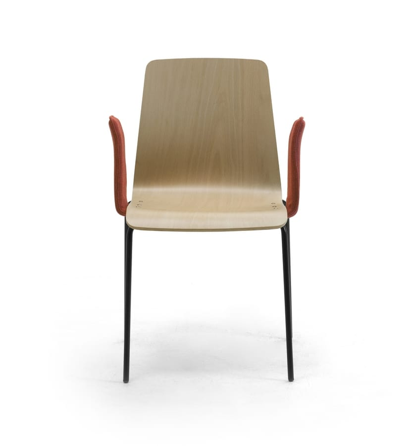 Zerosedici Wood 4G, Chair with 4 legs in metal, robust wooden shell