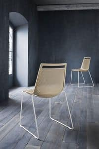 Akami S, Metal chair, backrest in polymer perforated
