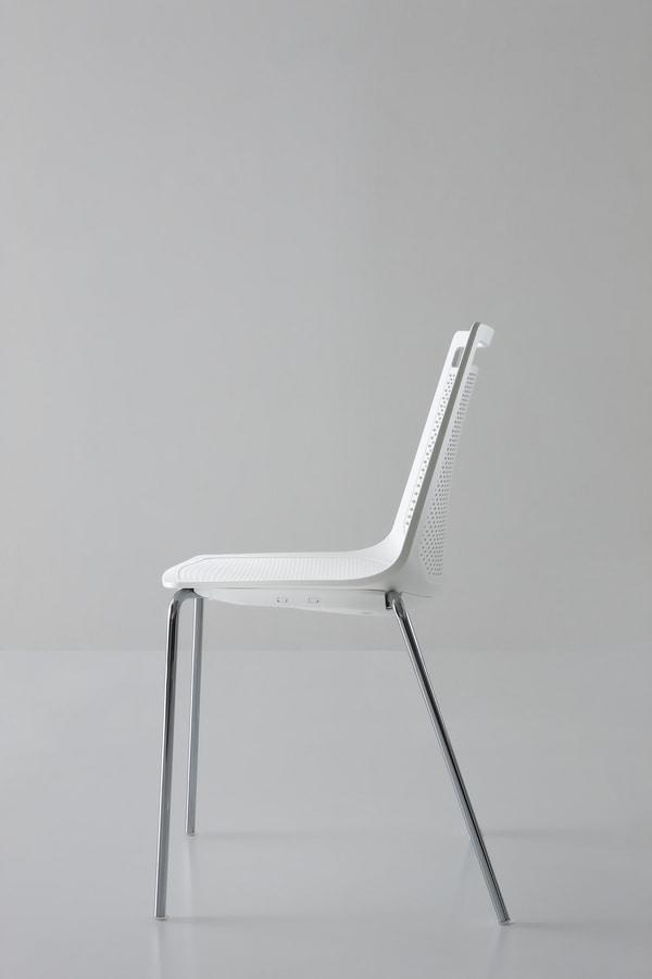 Akami NA, Chromed metal chair, technopolymer shell
