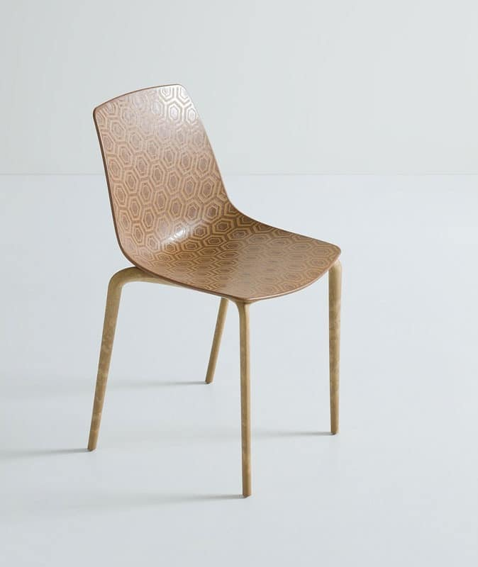 Alhambra Eco cod. 92/NAECO, Chairs with shell in plastic, composite wood frame