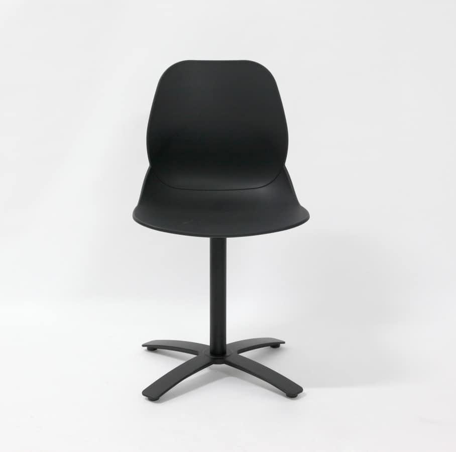 Art. 010 Shell Cross, Swivel chair, with black polypropylene shell