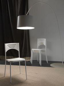 Art. 041 Break, Light chair in metal and polypropylene, stackable