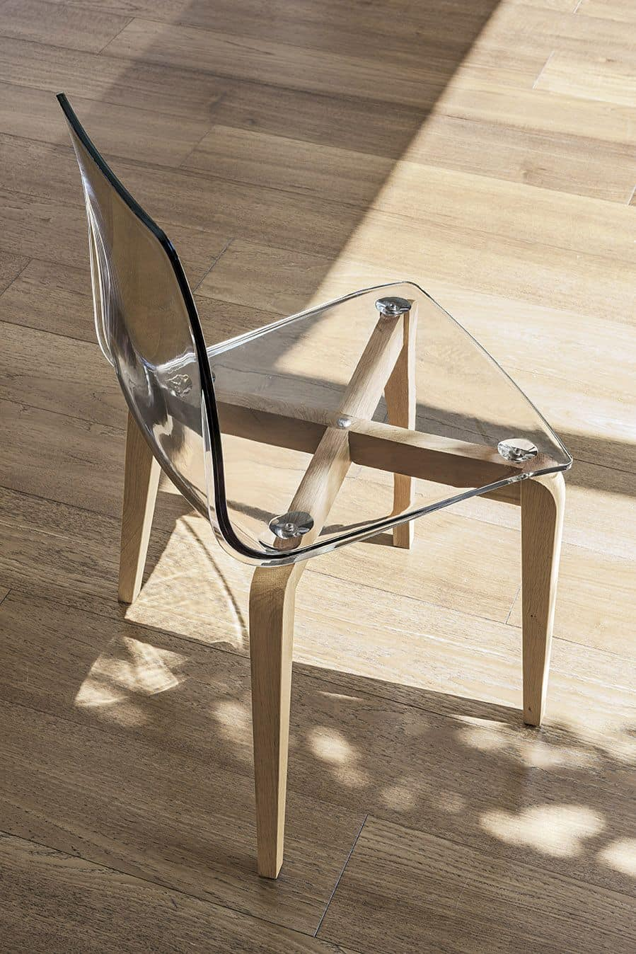 BERLINO SE506, Chair with wooden frame, polycarbonate seat, modern style