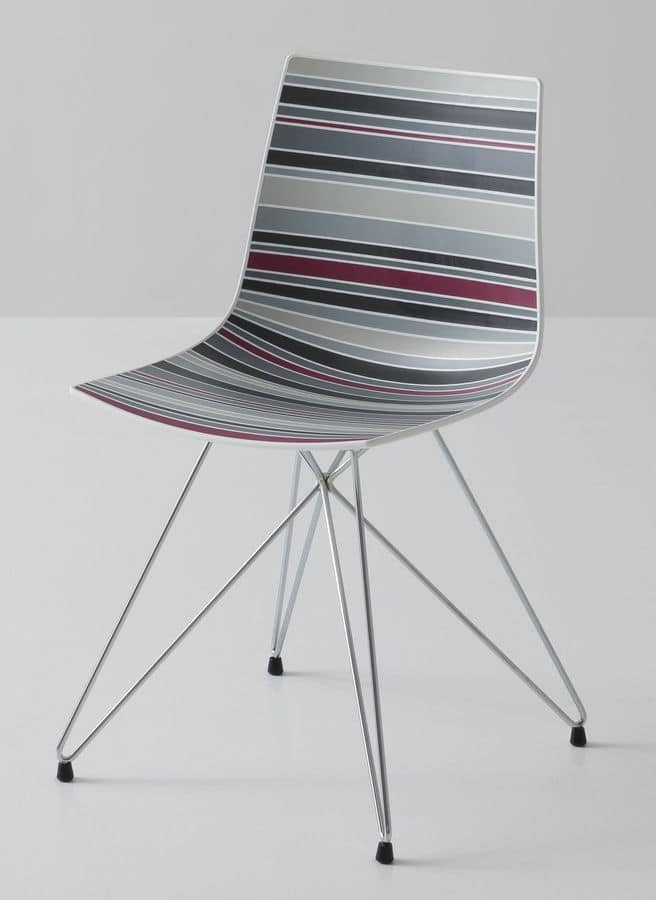 Colorfive TC, Chair with metal base, multicolored polymer shell