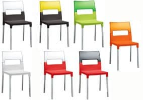 Diva chair, Chair made of transparent polycarbonate, multicolour