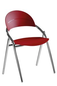 Luna, Office visitor chair, in metal and colored polypropylene