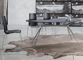 Mannequin, Modern metal chair, technopolymer seat, stackable