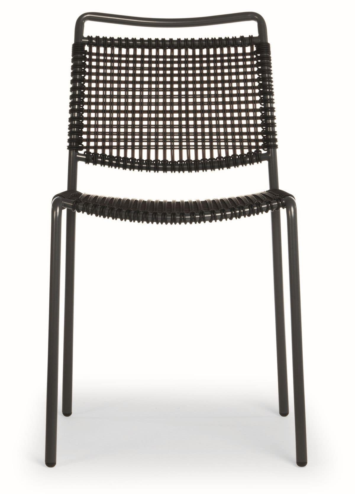 Moon, Metal chair with synthetic twine seat and back