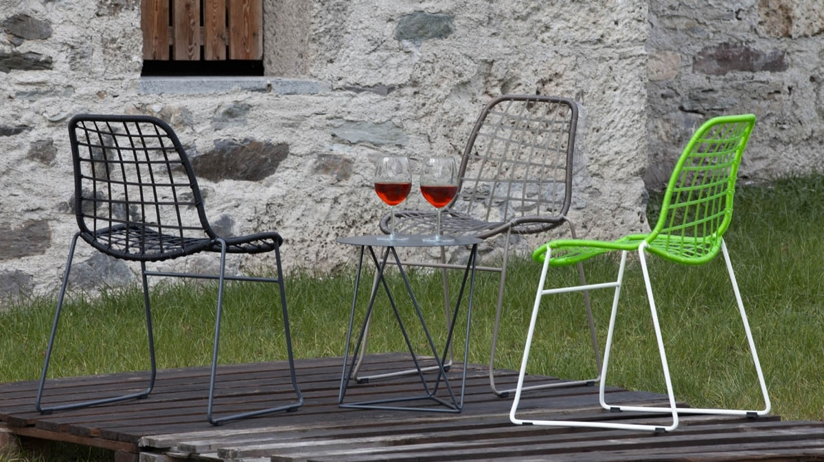 Net, Chair in metal and synthetic twine, also for outdoor