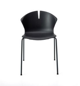 Red Hot 4 legs, Stackable chair for community, with polypropylene shell