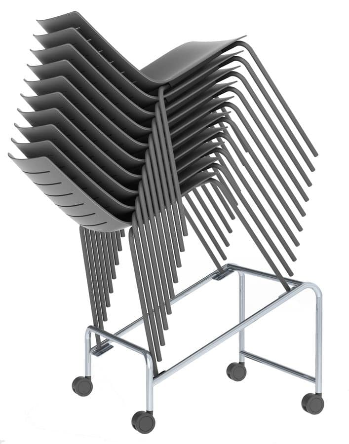 Slim 01, Metal chair with plastic shell suited for modern bars and kitchens