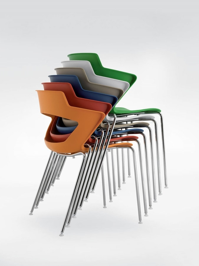 UF 168, Stackable chair in metal and PVC, with perforated back
