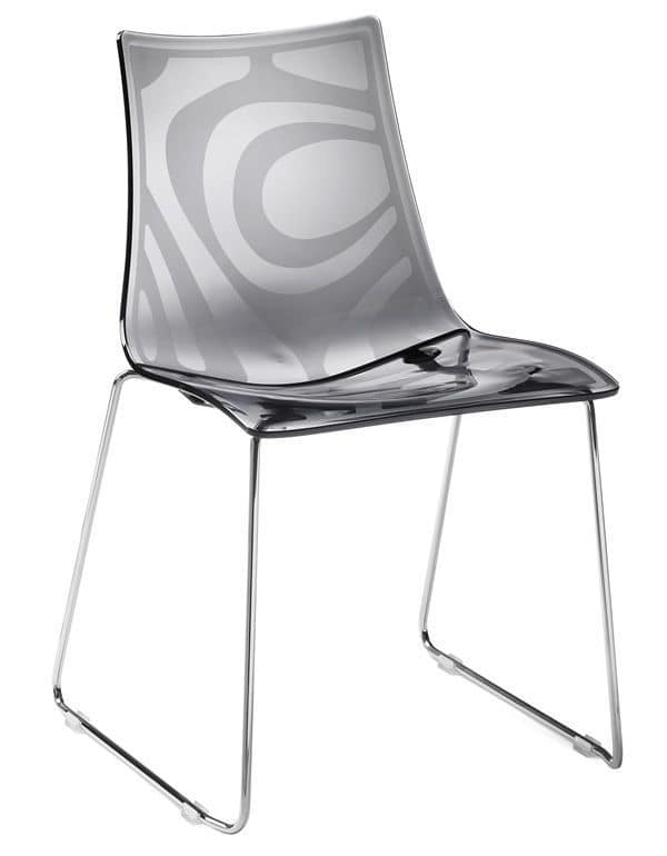 Zebra S, Metal chair with polycarbonate seat, stackable