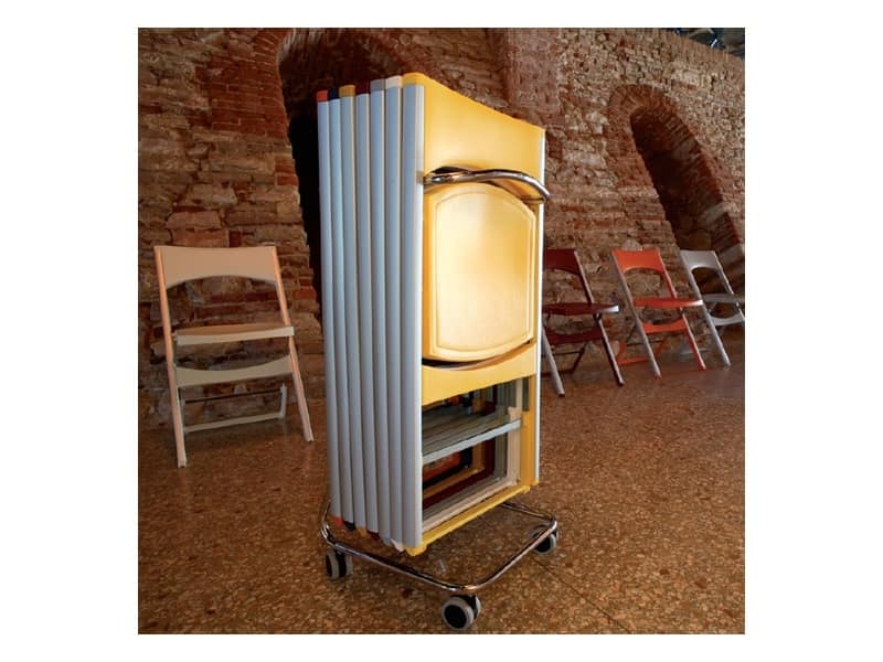 Compact cod. 60, Metal cart for chairs storage