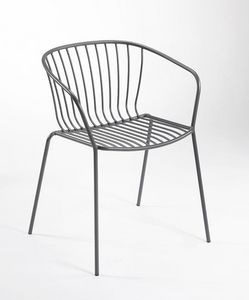 Amitha B, Metal chair with armrests, for outdoors