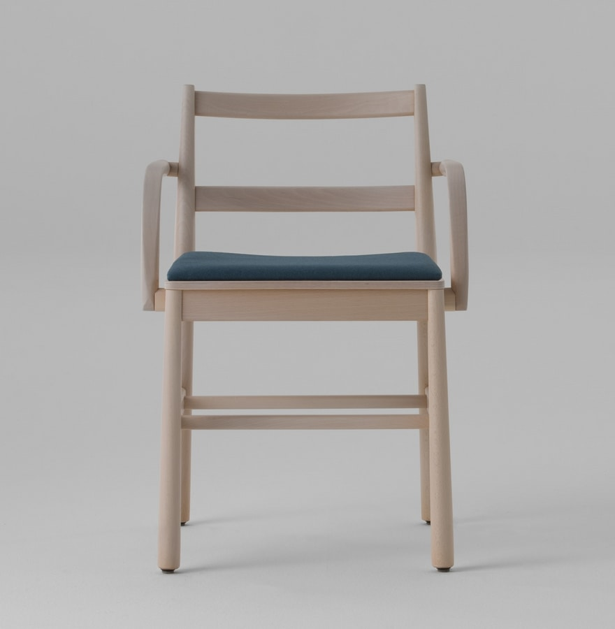 ART. 0021-IMB-AR JULIE, Wooden chair with upholstered seat