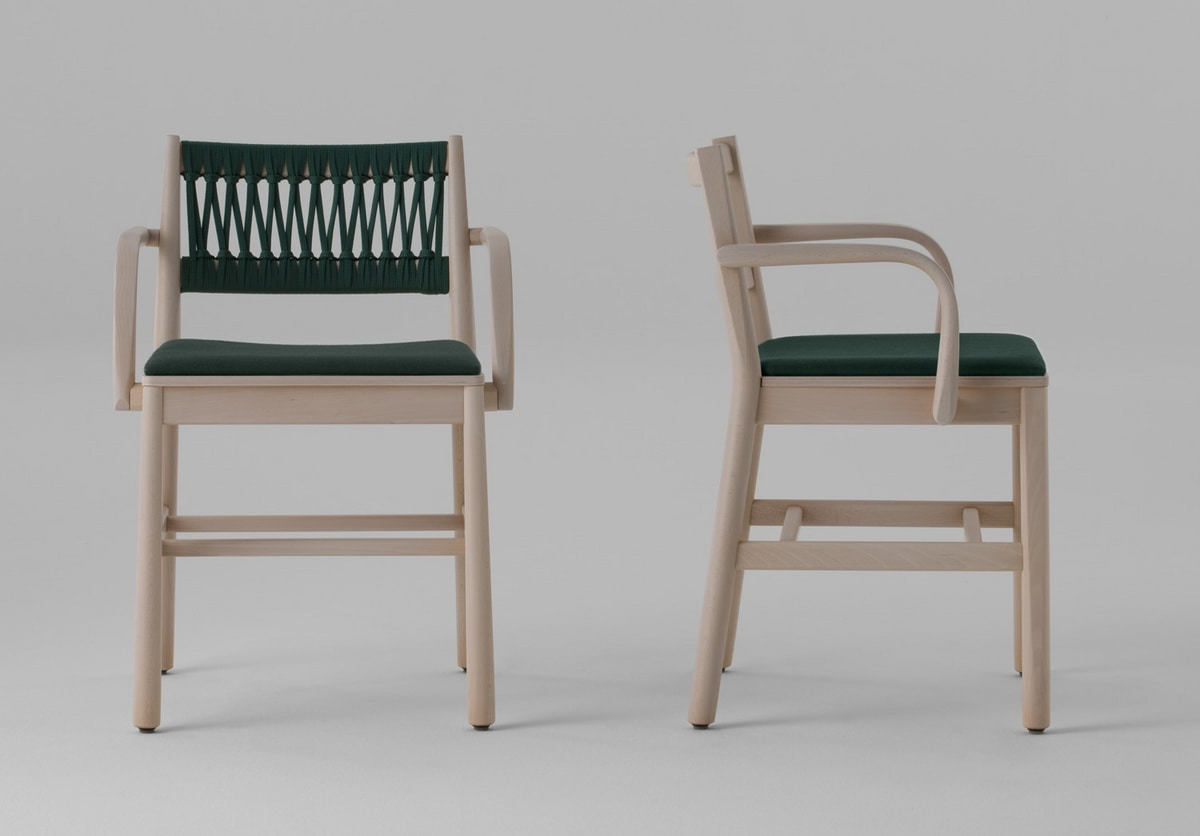 ART. 0025-IN-IMB-AR JULIE, Padded chair, with woven rope back