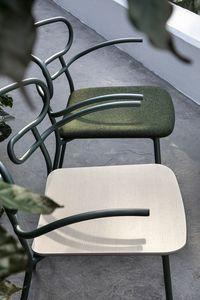 ART. 0048-MET-AR GENOA, Metal chair with armrests, wooden seat