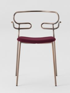 ART. 0048-MET-IM-AR GENOA, Metal chair with armrests, upholstered seat