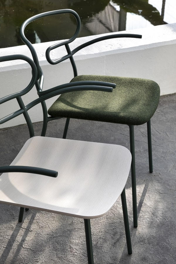 ART. 0048-MET-IM GENOA, Metal chair with armrests, upholstered seat