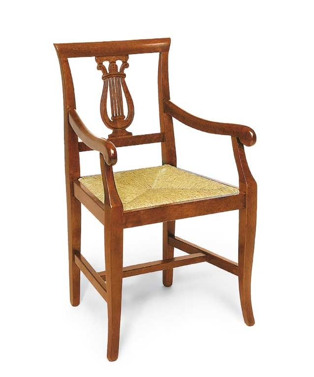 Art. 101/A, Wooden chair with armrests, harp-shaped decoration
