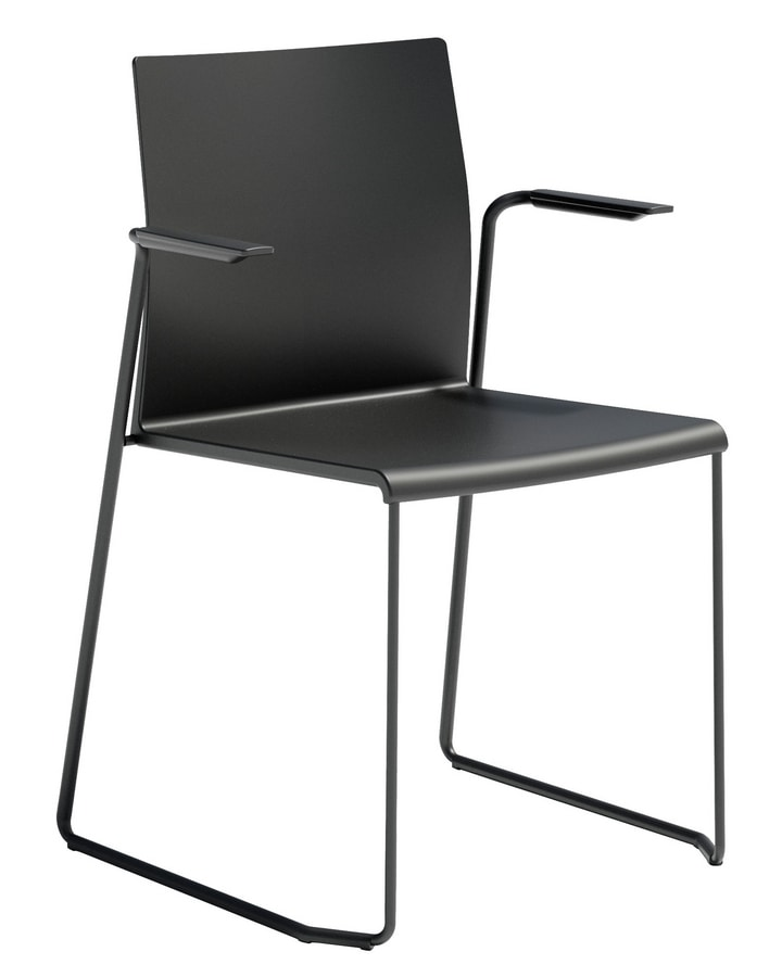 Artesia SS, Chair with armrests, sled base