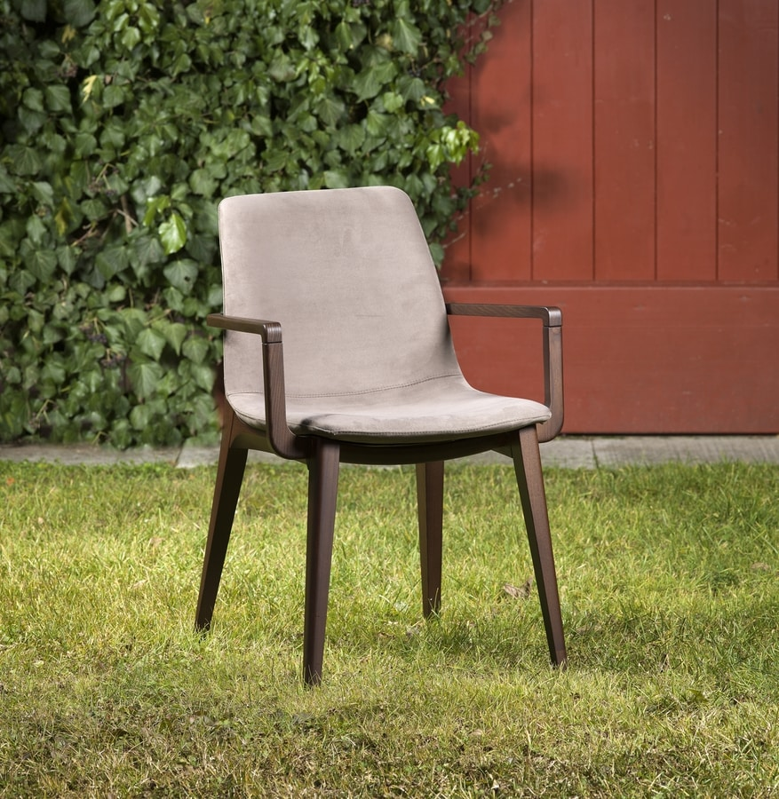 Bassano with armrests, Wooden chair with armrests