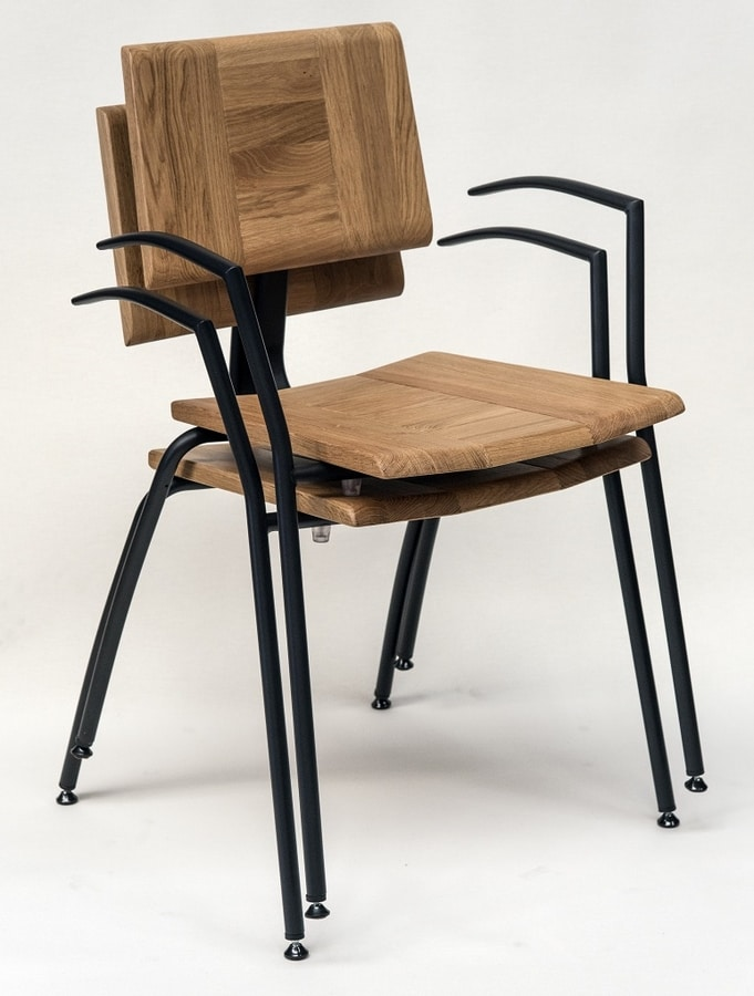 EAGLE B05, Stackable chair with armrests