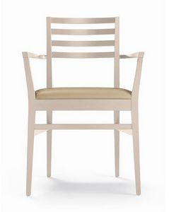 ER 440044, Chair with armrests, horizontal slats backrest