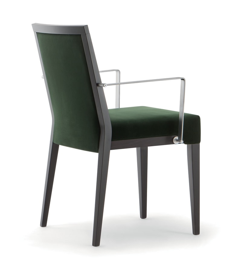 GINEVRA SIDE CHAIR 031 SB F, Wooden chair with metal armrests