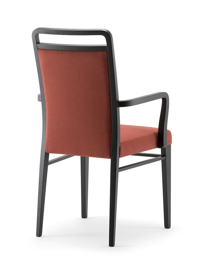 HAVANA SIDE CHAIR WITH ARMS 020 SB, Padded wooden chair, with armrests