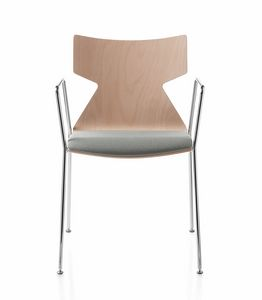 Kimbox Wood, Stackable chair with armrests