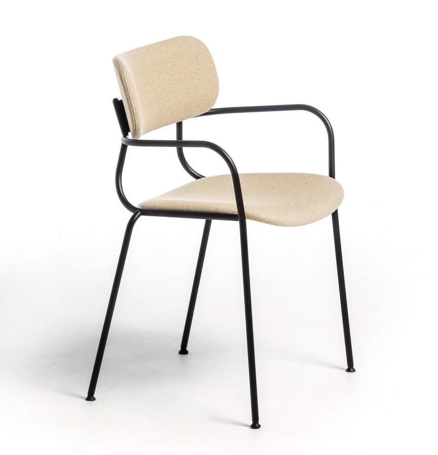 Kiyumi Fabric AR, Versatile chair with armrests