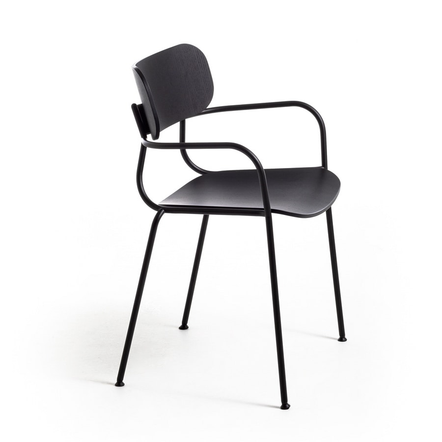 Kiyumi Wood AR, Stackable chair with armrests