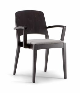 KYOTO ARM CHAIR 047 SB, Wooden chair with armrests, upholstered seat