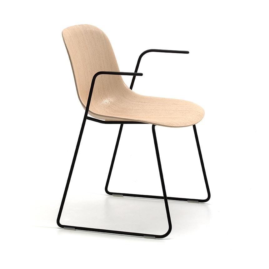 Máni Wood SL AR, Chair with armrests and sled base