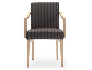 Milena-P1, Wooden chair for restaurant and hotel, with armrests