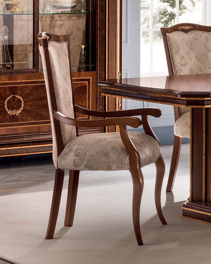 Modigliani chair with armrests, Chiar with armrests for dining room