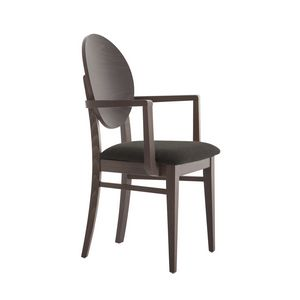 MP49WP, Chair with armrests, round wooden backrest